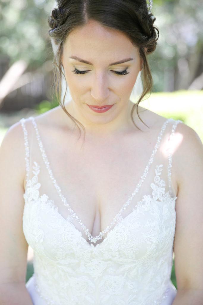 beaded v neck wedding dress