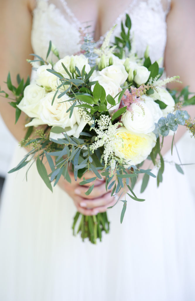 white and green bridal bouquet Grohe florists
