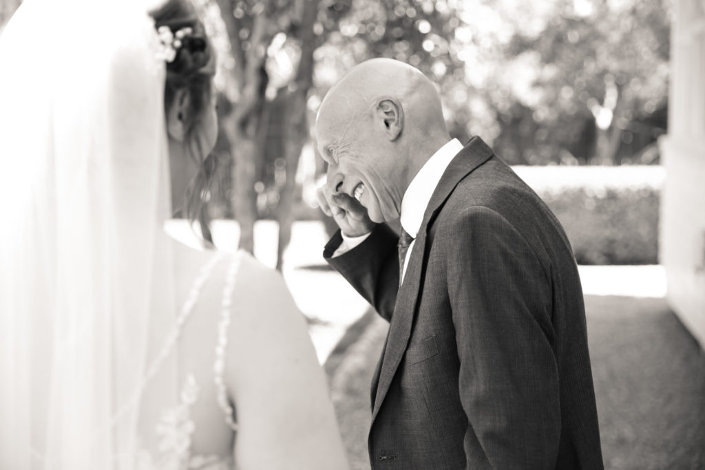 first look with bride and dad sonoma wedding by magdalena stefanek photography