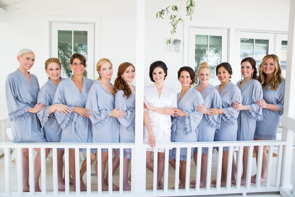 bride and bridesmaids in blue robes