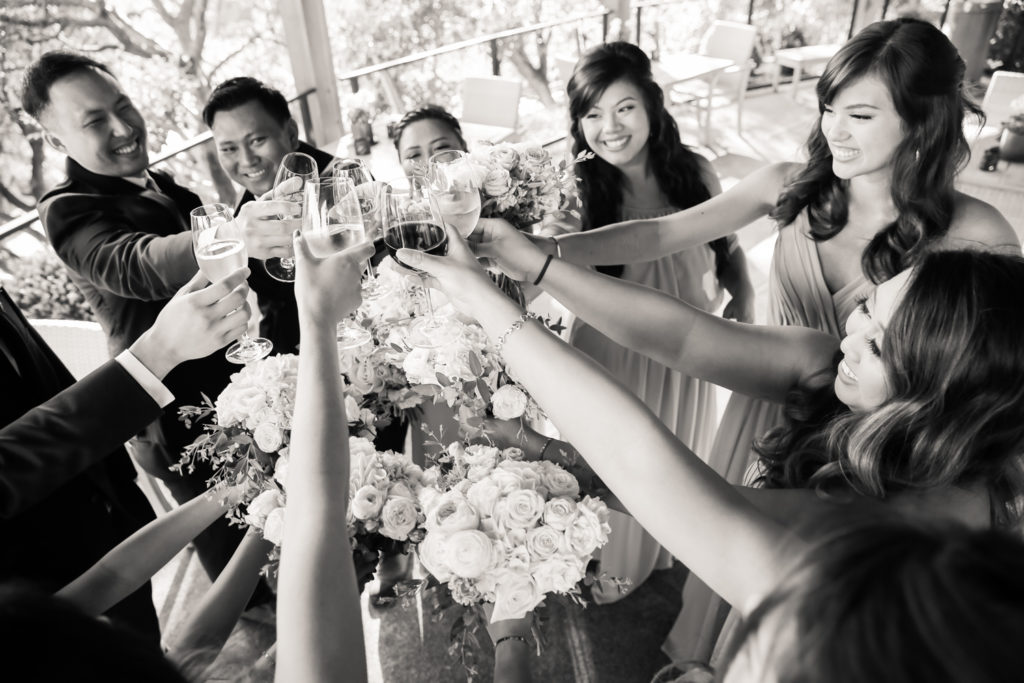 wedding party cheers