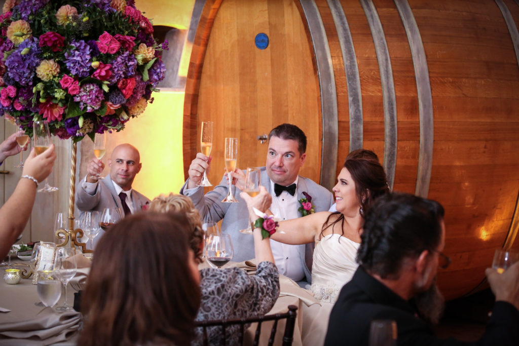 toast at wedding reception in Sonoma cave