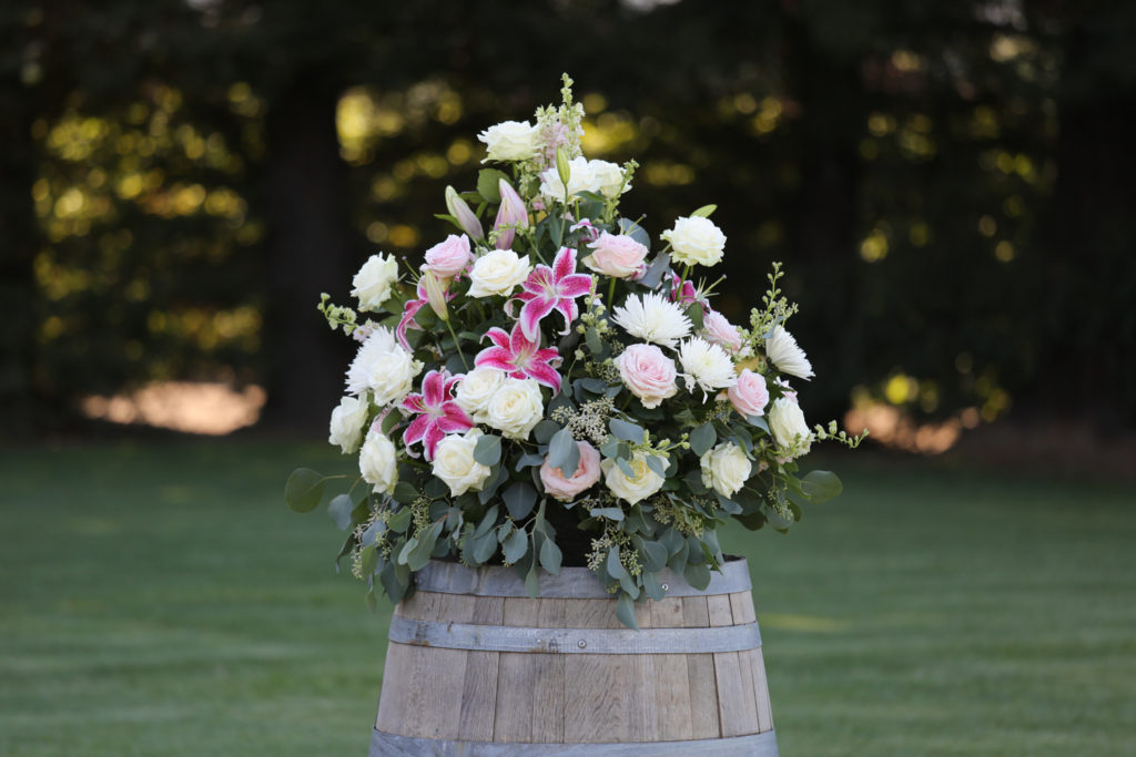 pink and white flower arrangements