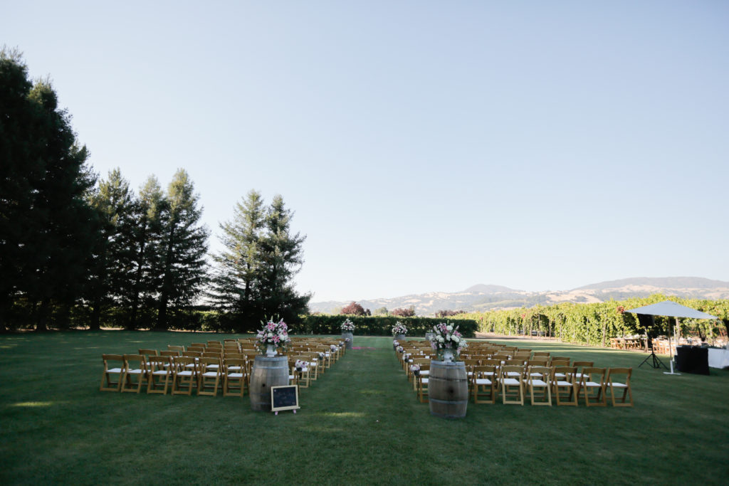 wedding ceremony at Trentadue winery