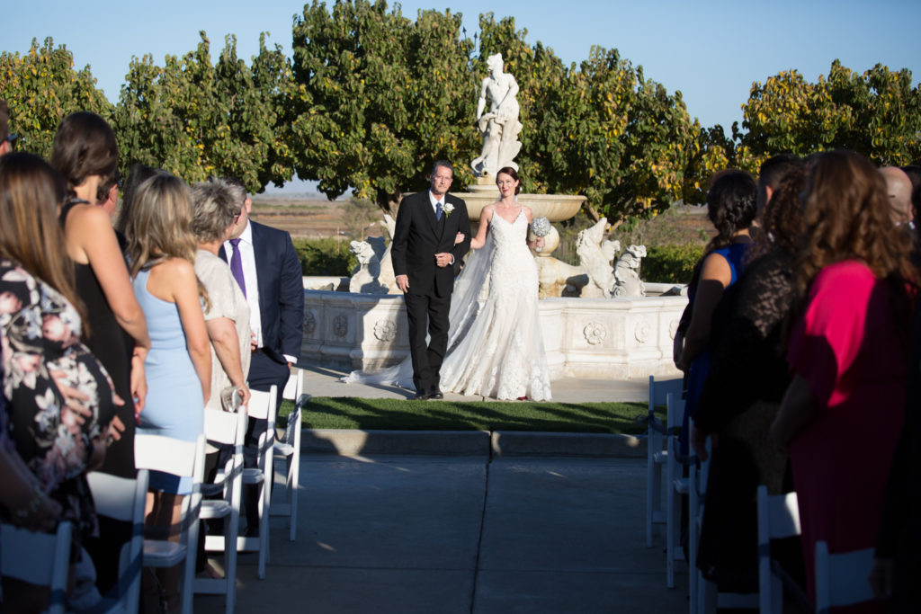 Bride being walked down the aisle at Jacuzzi Winery