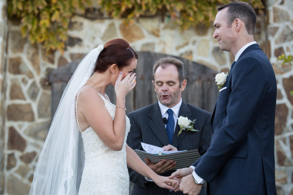 Emotional moment during vows