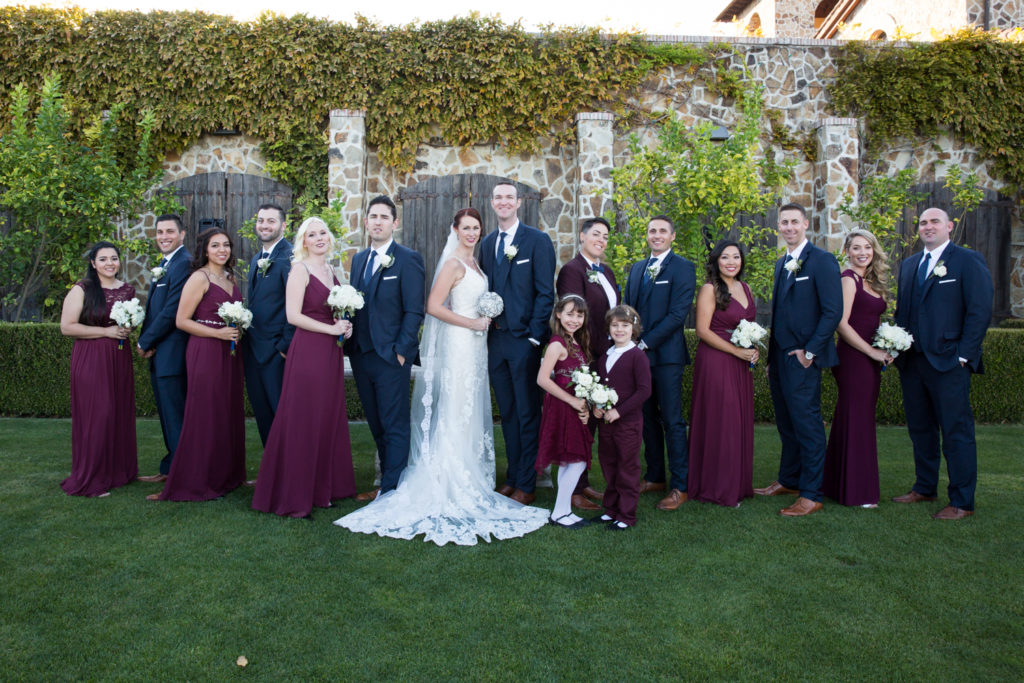 wedding party photos at Jacuzzi Winery