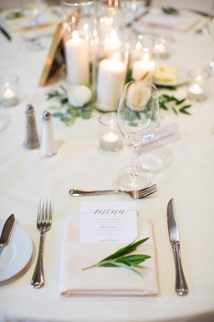 Table settings at a wedding in Vintners Inn