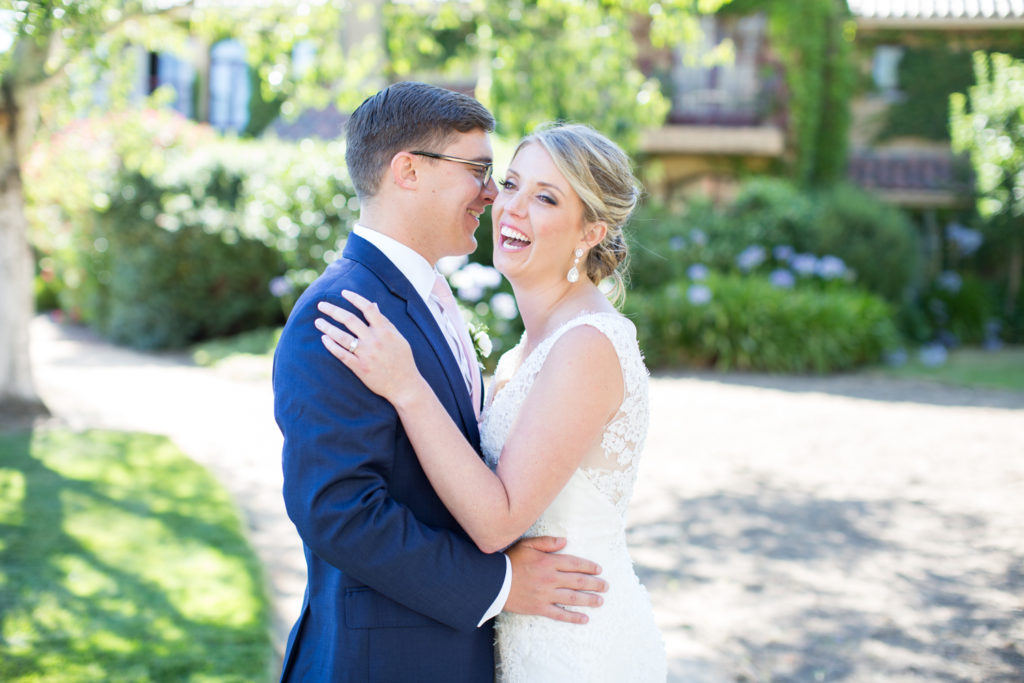 Newlyweds candid photo wine country wedding photographer