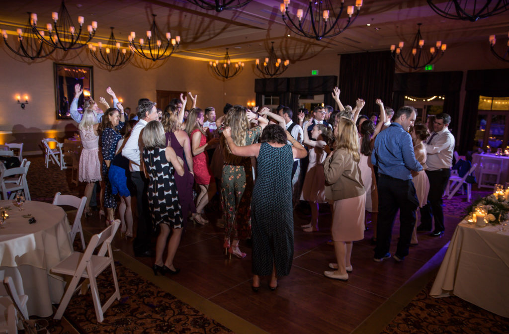 wedding goers dancing at vintners inn