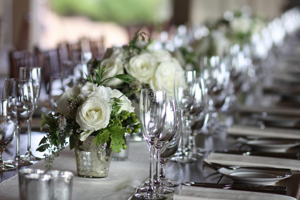 white wedding floral arrangements