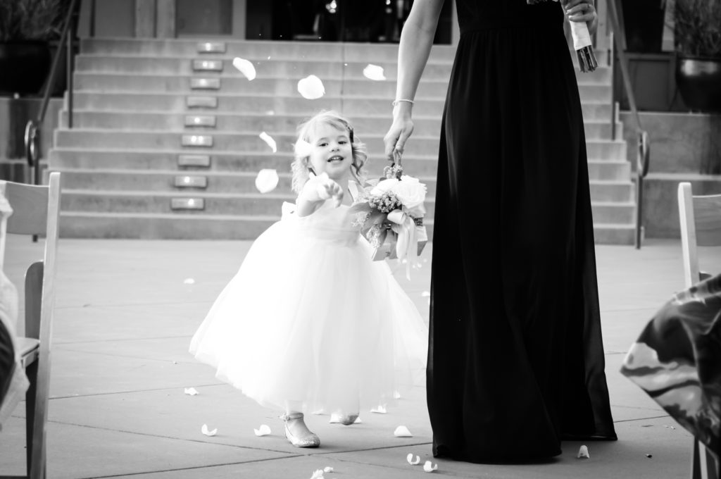 flower girl at paradise ridge winery wedding